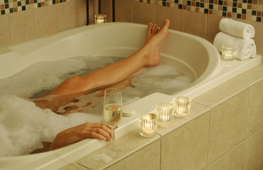 relaxing alone in the tub